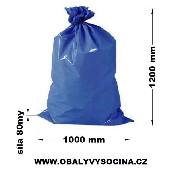 Pytle na odpad modré 100 x 120 cm EXTRA SILNÉ 80 my