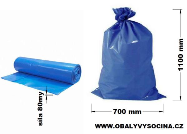 Pytle na odpad modré 70 x 110 cm EXTRA SILNÉ 80 my [15 ks]