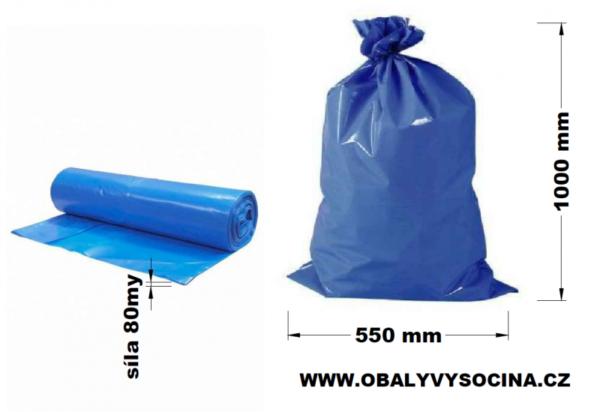 Pytle na odpad modré 55 x 100 cm EXTRA SILNÉ 80 my [25 ks]