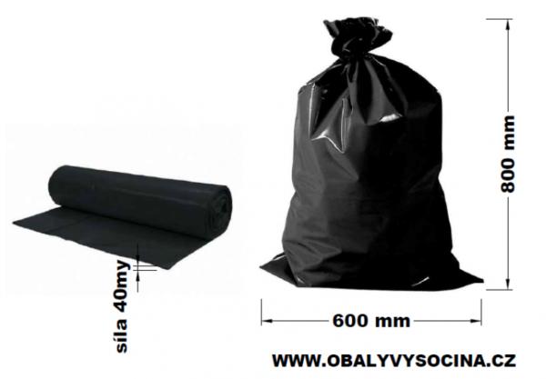 Pytle na odpad černé 60 x 80 cm