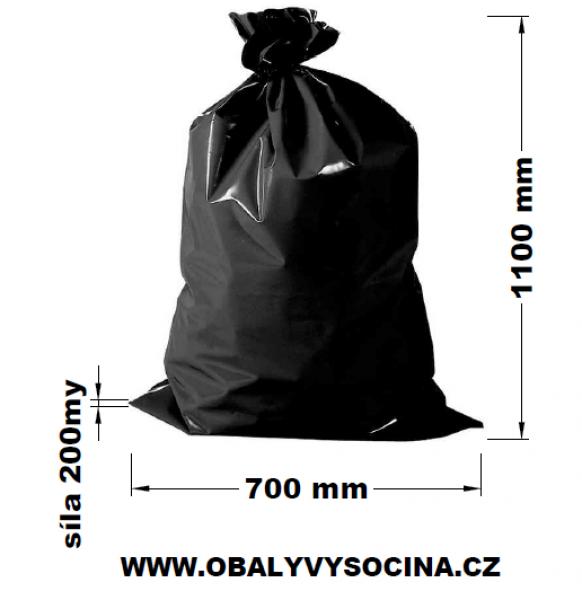 Pytle na odpad černé 70 x 110 cm EXTRA SILNÉ 200 my