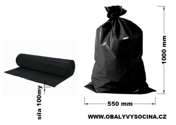 Pytle na odpad černé 55 x 100 cm EXTRA SILNÉ 100 my