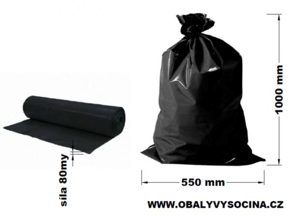 Pytle na odpad černé 55 x 100 cm EXTRA SILNÉ 80 my [15 ks]