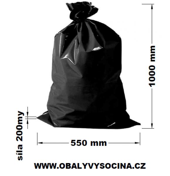 Pytle na odpad černé 55 x 100 cm EXTRA SILNÉ 200 my
