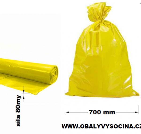 Pytle na odpad žluté 70 x 110 cm EXTRA SILNÉ 80 my [15 ks]