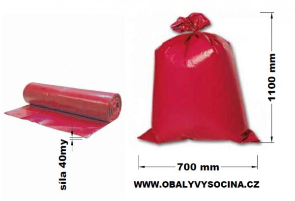 Pytle na odpad červené 70 x 110 cm