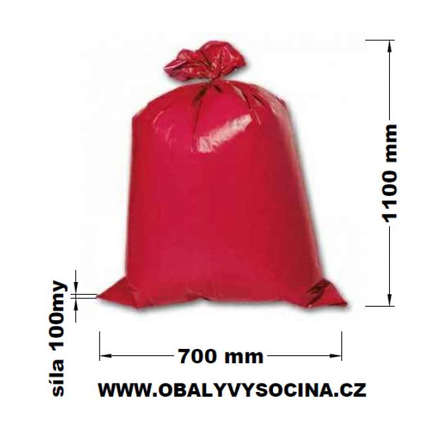 Pytle na odpad červené 70 x 110 cm EXTRA SILNÉ 100 my