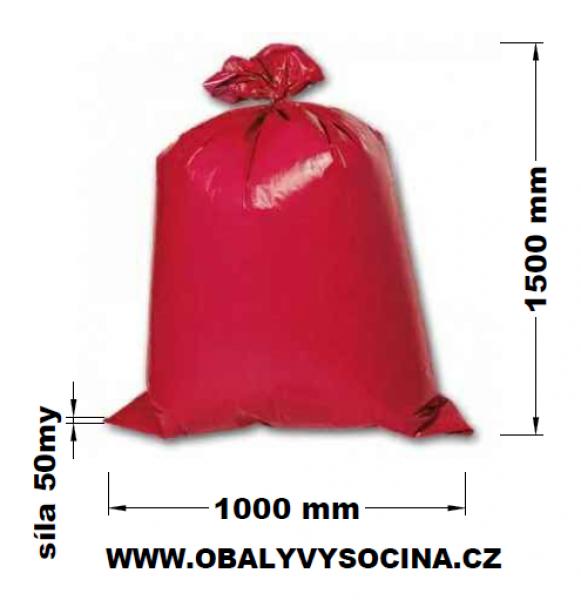 Pytle na odpad červené 100 x 150 cm