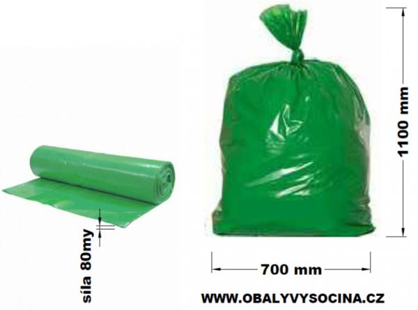 Pytle na odpad zelené 70 x 110 cm EXTRA SILNÉ 80 my [15 ks]