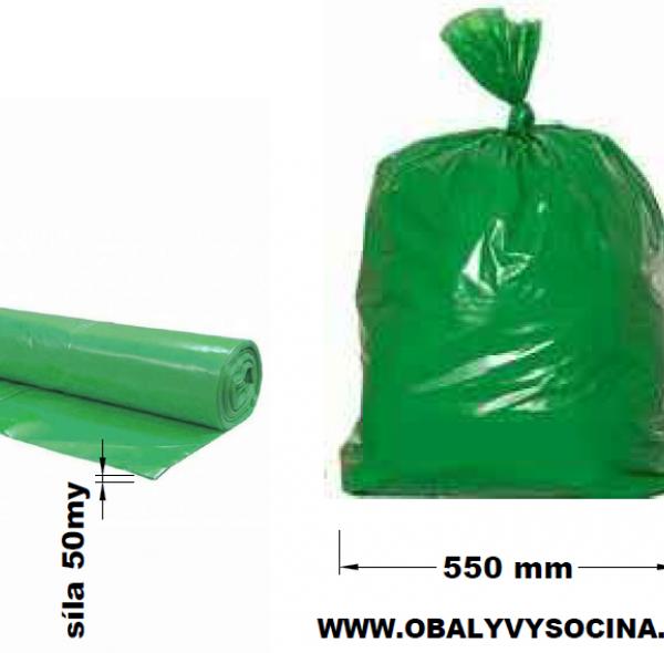 Pytle na odpad zelené 55 x 100 cm