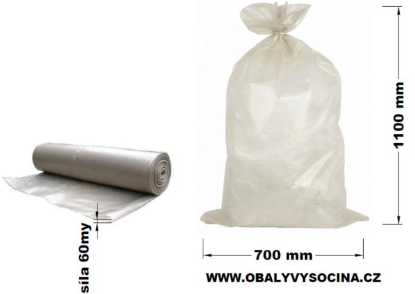 Pytle na odpad transparentní 70 x 110 cm EXTRA SILNÉ 60 my [20 ks]