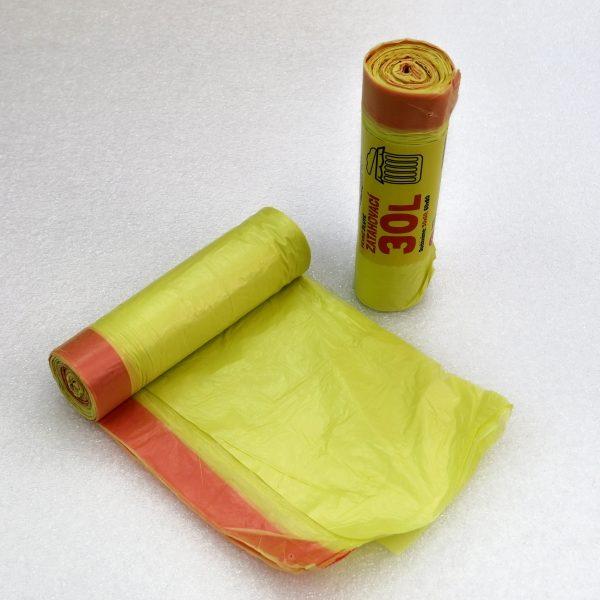 Sáčky do koše zatahovací žluté 50 x 60 cm