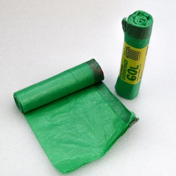 Sáčky do koše zatahovací zelené 60 x 80 cm