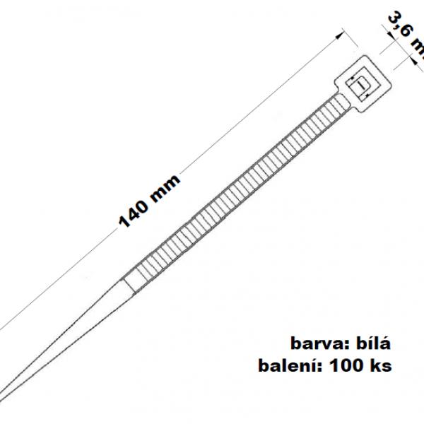 Páska stahovací bílá 140 x 3