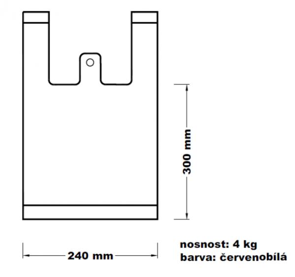 Mikroténová taška 4kg červenobílá 12*45cm 100ks