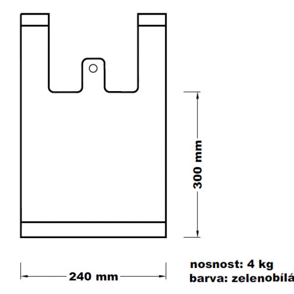 Mikroténová taška 4kg zelenobílá 12*45cm 100ks