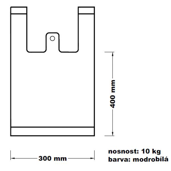 Mikroténová taška 10kg modrobílá 15*53cm 100ks