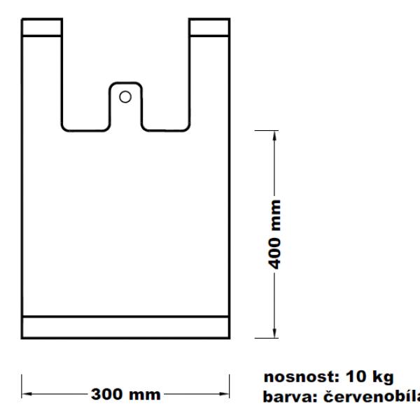 Mikroténová taška 10kg červenobílá 15*53cm 100ks