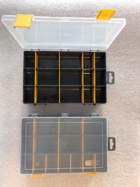 Organizér  antracit/žlutá 251645-plastová krabička na kancel.a drobné předměty