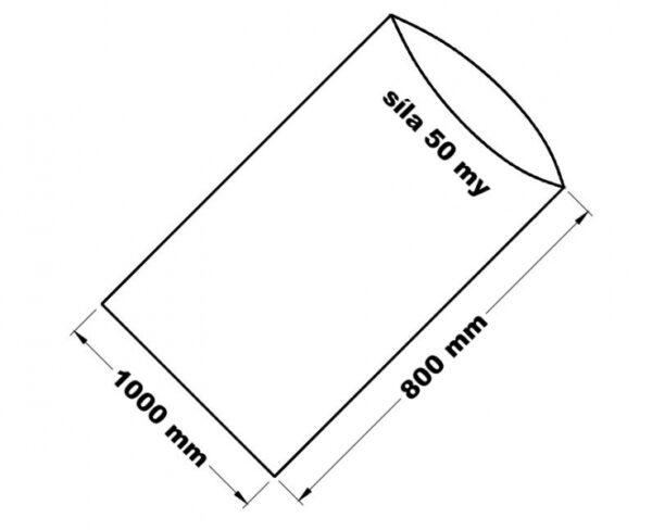 PE sáček průhledný - 1000 x 800 mm / 0